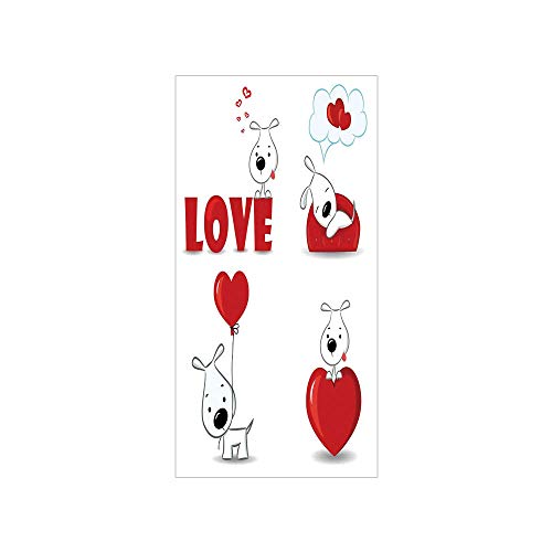3D Decorative Film Privacy Window Film No Glue,Love Decor,Set of Funny Dogs with Heart Symbols Love My Pet Best Friends Companions Ever Animal Theme,Red White,for Home&Office