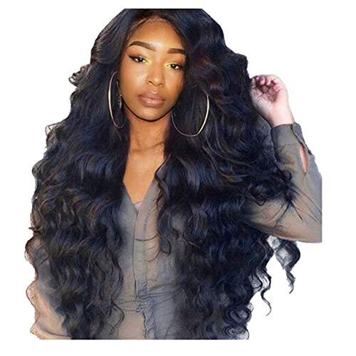 Moonuy Perruque Bresilienne Lace Frontal Tissage Bresilienne Lace Front Frontal Closure Deep Curly Wave Noir Cheveux Synthétique Perruque Cheveux frisés longs pour femme (Noir)