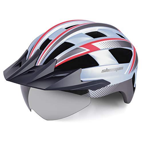 Shinmax Casque de vélo de Route Route CPSC Safety Standard Casque réglable d escalade avec Voyant de sécurité et visière Amovible et Lunettes magnétiques Montagne pour Hommes et Femmes Adultes