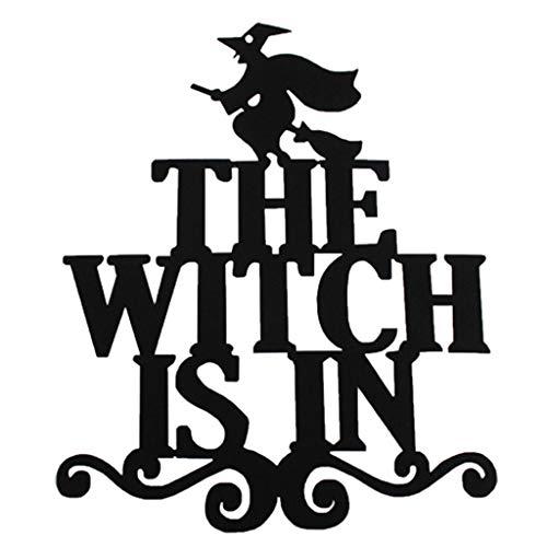 catyrre 1/4Pcs Halloween Türwand aufgehängt Anhänger, die Hexe ist in Trick oder behandeln Hängezeichen für Home Party Haunted House Props Dekoration