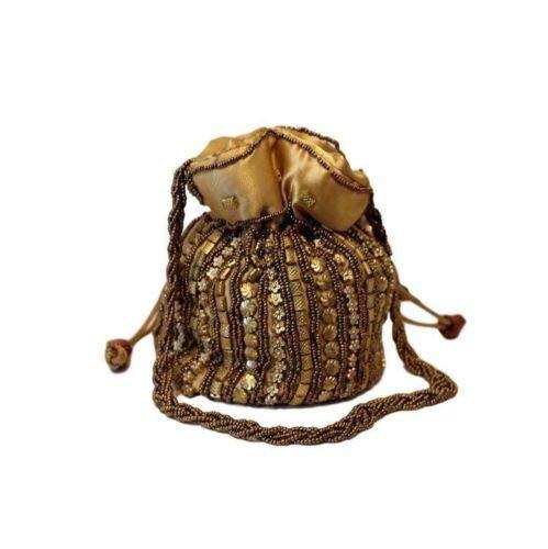 Eid - Bolso de mano de seda satinada con cordón para boda india