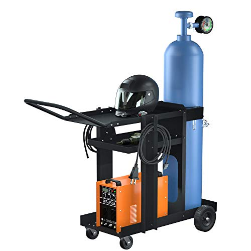 Reliancer 3-Tier Rolling Welding Cart MIG TIG ARC Plasma Cutter Machine Heavy Duty Welding Welder Cart 180 Lbs Weight Capacity with Tank Storage & 2 Cable Hooks & Safety Chain Plasma Cutting Equipment