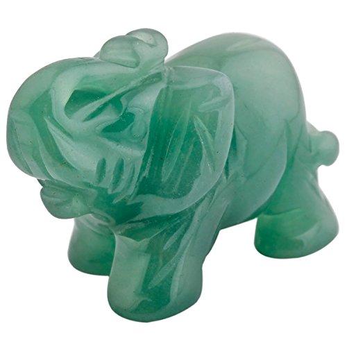 mookaitedecor Elefantenfigur, heilender Kristall, Energie-Edelstein, Reiki-Statue, Heimdekoration, 3,8 cm, Stein, Green Aventurine