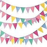 12 banderines de triángulo, banderines de color muiltcolored banderines de arpillera para colgar en bodas, fiestas de cumpleaños, jardín, hogar, decoración de Pascua