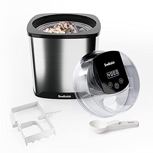 SveBake Gelatiera Professionale 2L , Macchina del Gelato per Sorbetto o Frozen Yogurt con LED Timer Funzione e Ricette