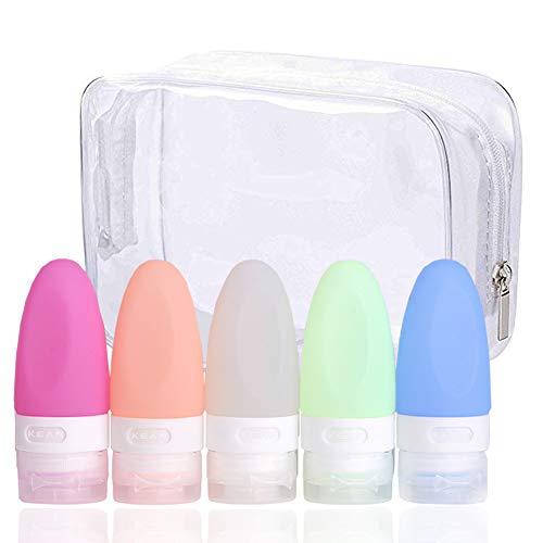 Botellas de Viaje de Silicona, PVC Bolsa Portátil de Maquillaje, Bolsa Cosméticos Transparente Impermeable Claro Bolsa de artículos de tocador, loción, acondicionad