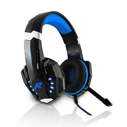 Redlemon Audífonos Gamer G9000 Sonido High Definition Estéreo 360°, con Micrófono de Cancelación de Ruido y Luz LED, Conector 3.5 mm de 4 Pines. Azul