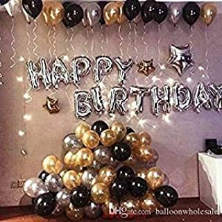 OSG Crafters Happy Birthday Letter Foil Balloon Set of Silver + Pack of 60 HD Metallic Balloons (Gold, Black and Silver)