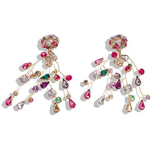 OUHUI Pendientes Colgantes de Forma de Rama con Aretes de Diamantes de Imitación Imitados de Colores Regalos de Joyería para Mujeres Retro/A