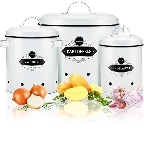 Winzbacher® - 3er Set Aufbewahrungsbox für Kartoffel, Zwiebel & Knoblauch | Vorratsdosen, Vorratsbehälter, Aufbewahrung Küche | Kartoffeltopf, Zwiebeltopf | Rostfrei | für maximale Haltbarkeit