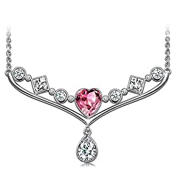 NINASUN Fancy Love 925 Sterling Silver Heart Pendant Necklace Made with Swarovski Crystals Romantic Gifts for Her
