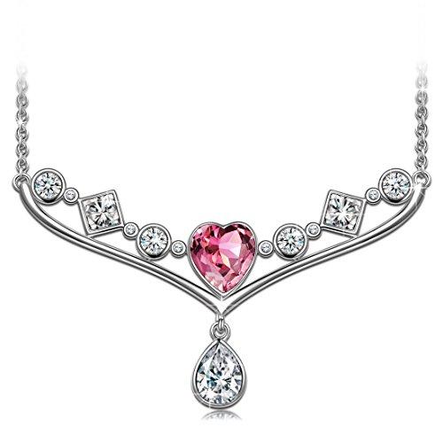 Alex Perry Gifts for Her Collar de Plata esterlina para Mujer Cristales de Madre de Swarovski Colgantes Regalos para mamá Niñas Cumpleaños Aniversario de Navidad Amigos con Cristal de corazón Rosa