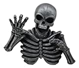 Ebros Thriller Graveyard Morbid Clawing Skeleton Wall Decor Grinning Skull Hanging Plaque As Halloween 3D Wall Art Sculpture and Gothic Decorative Statue