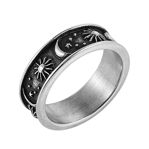 HZMAN 8mm Moon Star Sun Statement Ring Stainless Steel Boho Jewelry for Women Men silver