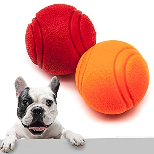 Pet Touch Robuster Gummiball mit festem Kern, sehr hüpfend, unzerstörbar, praktisch robust, interaktives Hundespielzeug, starke Gummibälle für Hunde (klein (50 mm), 2 Bälle (rot + orange)
