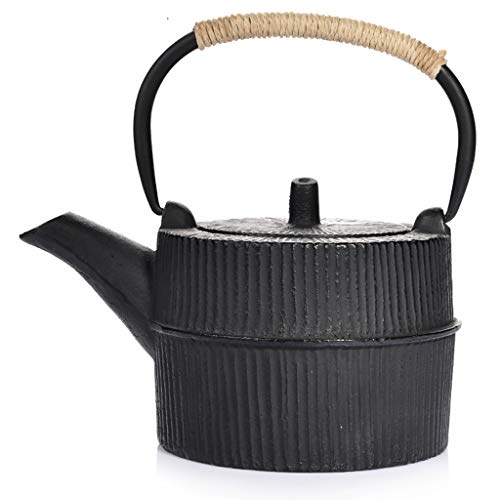 Cast Iron Teapot,cast Lron Tea Kettle, Best Japanese Cast Iron Teapot With Infuser,Tea Pot For Stove Top, Used For Bulk Tea And Tea Bags, White Tea, Wood Fruit Tea, Health Tea, Black Tea,0.8L,black