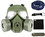 haoYK Máscara antigas simulada de, máscara de cara M04 con ventilador doble, para protección de paintball, airsoft (OD Verde)