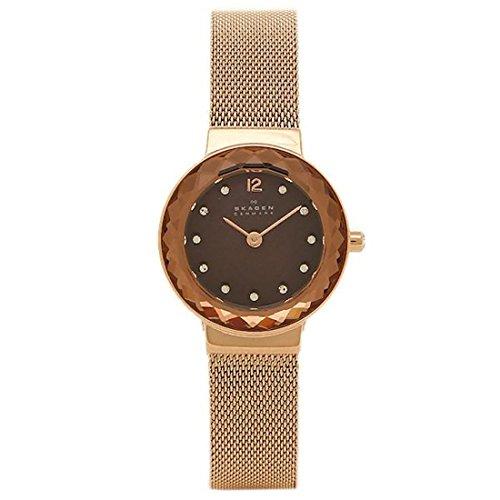 スカーゲン 時計 SKAGEN 456SRR1 LEONORA レオノラ スチールメッシュ 25MM レディース腕時計ウォッチ ブラウン ピンクゴールド [並行輸入品]