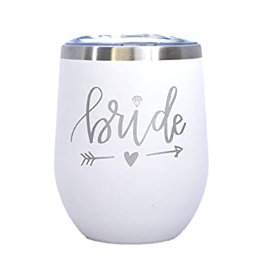 Bride - 12 oz Stainless Steel Wine Tumbler with Lid (White and Silver) - Bride Gift, Wedding Gift, Engagement, Bride To Be