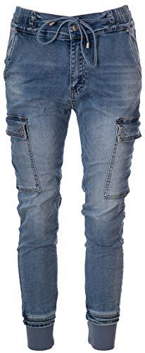 Basic.de Damen-Hose im Joggpant-Style mit seitlichen Taschen 8186 Jeans XS