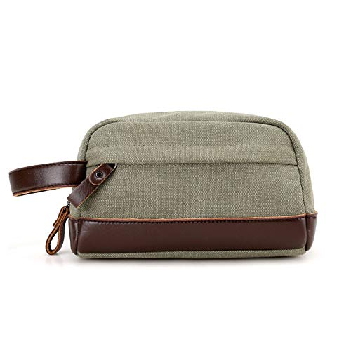 Bolso de mano para hombre con cera de aceite de lona bolsa de inodoro retro para hombre, bolso de mano con bolso de cuero pequeño