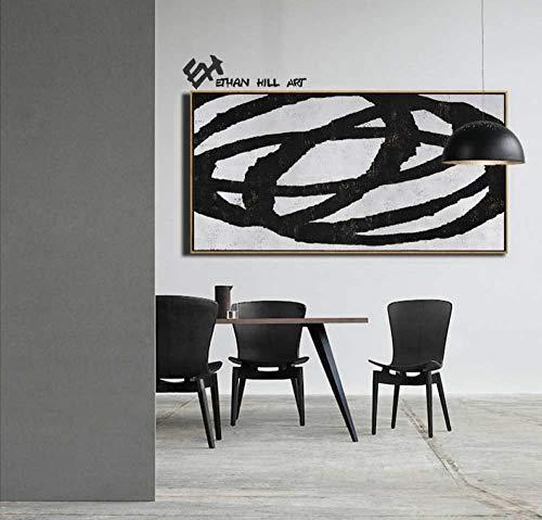 Handgeschilderd olieverfschilderij kunstwerk op canvas, grote geometrische kunst horizontale schilderij muurkunst schilderij schilderij moderne kunst zwart wit minimalistisch kunststaafwerk woonkamer decoratie 120×240cm(48×96 inch)