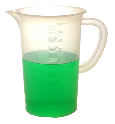 Measuring Jug, 1000ml - Polypropylene - Tall Form, Handle & Spout, 10ml Graduations - Eisco Labs