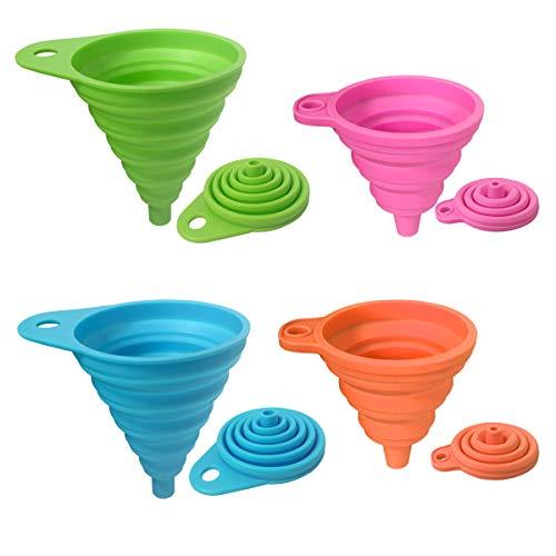 BoloShine Silikon Trichter Faltbarer, 4 Farben Trichtersatz Flexibel Trichter Hitzebeständig Bis 230 Grad für Wasserflaschen Öl Pulver und Flüssigkeiten, 2 Klein + 2 Groß