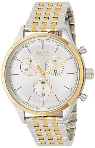 Hugo Boss Herren Chronograph Quarz Uhr mit Edelstahl Armband 1513654