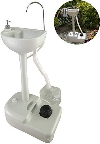 Ckssyao Mobile Handwaschbecken Outdoor Camping Waschstation mit Wasserhahn und Abflussrohr, tragbare Waschbecken Outdoor Waschbecken