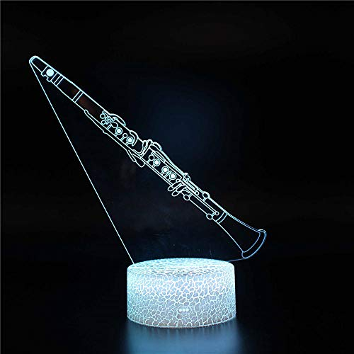 3D Illusione Ottica clarinetto Luce notturna per bambini 3D Lampada da Illusione Piattaforma Lampada da Tavolo con Interruttore tattile 7 colori Lampada USB Deco Lampada