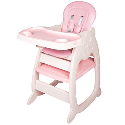 Kinfant Baby High Chair, 3 in 1 Infant Table and Chair Set, Convertible Booster Seat with Detachable Feeding Tray, Adjustable Seat Back