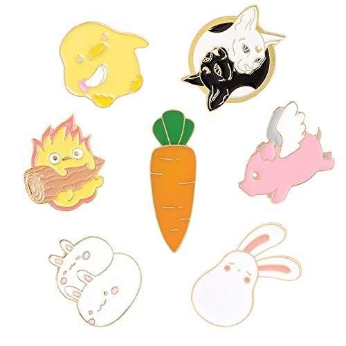 SHAOWU Cartoon Tier kleine Flamme hält Brennholz Kaninchen Karotte Spaß Schwarz-Weiß-Sphinx Kaninchen Emaille Pin Broschen Schmuck Geschenke Stil3