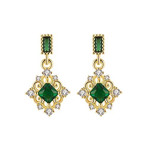 Temperament esmeralda stud mujeres cuadrados esmeralda pendientes WeChat diamantes esmeralda famosa joyería de pendiente