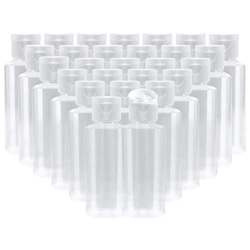 Bekith 30 Piezas Botellas vacías de plástico transparente para Vuelo, Aeropuerto, Vacaciones (60ml)