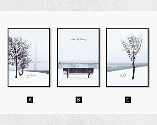 Nordic Style Sea Landscape Poster Print Black White Snow Tree Wall Art Canvas Painting Wall Picture for Living Room Home Decor 16X24Inx3(40X60Cmx3) Unframed