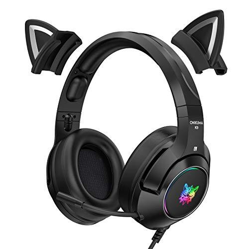 YAMAZA PC Gaming Headset mit Noise Cancelling Mikrofon Katzenohr Gaming Headset mit RGB Licht 50 mm Dynamische Spule Starker Bass, Stereo Musik Kopfhörer für Laptop PC Handy (Mit Adapterkabel)