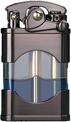 XBSJB - Accendino a olio, antivento, sottile, leggero, stile retrò, per uso esterno, barbecue iniettabile a piedi argento, nero, colore: Marrone