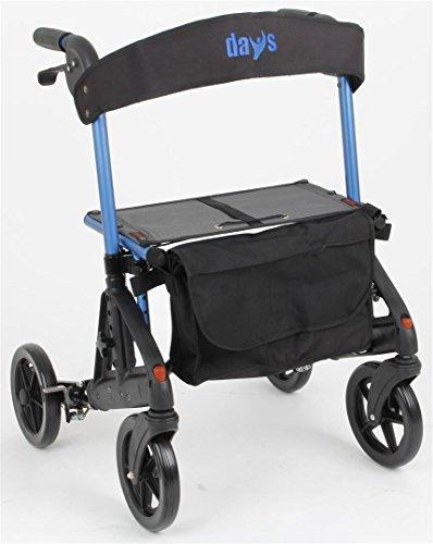 Patterson Medical Days Fortis 4 Wheel Rollator mit verstellbarem Sitz, Blau, Kompakte Größe als auch im Stehen, Quick Release Vorderräder, Curb Climber, älteren Menschen, Behinderte