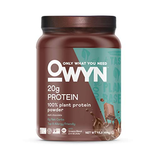 OWYN Only What You Need 100% Vegan Plant-Based Protein Powder, Dark Chocolate, Dairy Free, Gluten Free, Soy Free, Allergy Friendly, Vegetarian, 1.17 Pound Tub, 1 Count