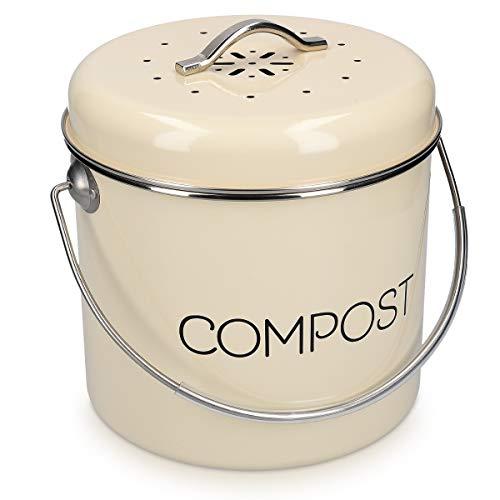 Navaris Cubo de Metal para Compost - Contenedor de Basura orgánica con Tapa y 3X Filtro de 21.5 x 23.2 CM - Compostera Vintage para la Cocina de 5 L