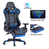 Blue Whale Massage Gaming Chair with Retractable Footrest,Adjustable...