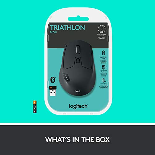 Logitech M720 Wireless Triathlon Mouse with Bluetooth for PC with Hyper-Fast Scrolling and USB Unifying Receiver for Computer and Laptop - Black