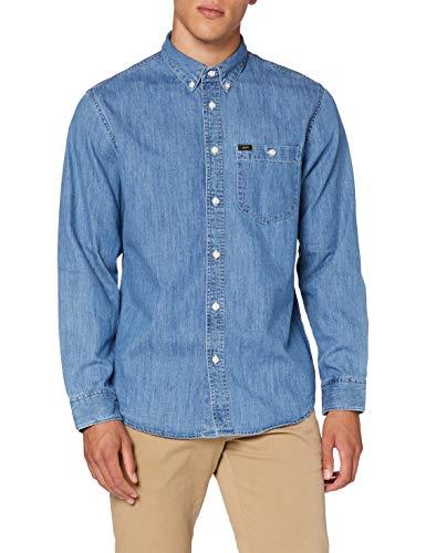 Lee Riveted Shirt Camisa, Azul Lavado, S para Hombre