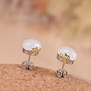 Hotan White Jade Earrings, S925 Sterling Silver Earrings, Gold-Plated, Simple Women's Style, Exquisite,White