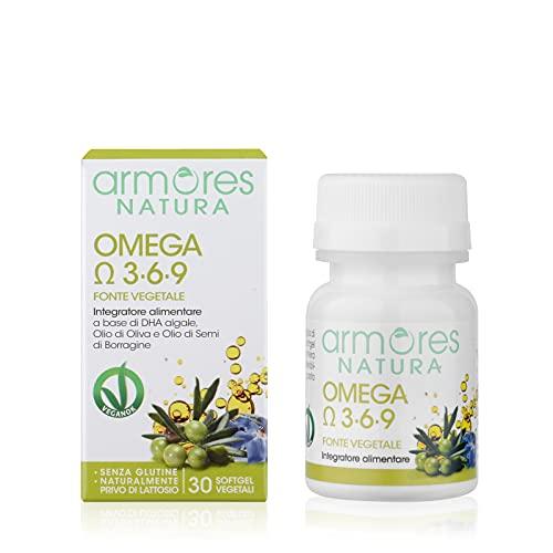 Armores Natura Integratori Alimentari, Omega 3-6-9, Integratore per il Benessere Cardiovascolare, a Base di DHA Algale, Olio di Oliva e Olio di Semi di Borragine, Vegano, 30 Softgel Vegetali