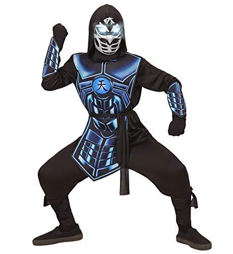 shoperama Disfraz infantil de ninja Cyber Ninja con luz y sonido para nios, Samurai Halloween, tamao: 128