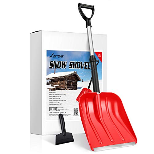 MOVTOTOP Snow Shovel for Car, Portable Snow Shovel with Ajustable Handle and Durable Aluminum Edge Blade for Snow Removal, 35.4-Inch Snow Shovel for Driveway, Car, with Ice Scraper (Red)