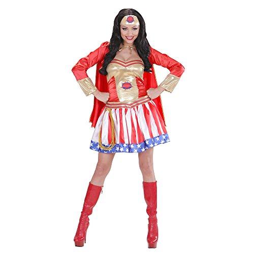 WIDMANN Super Hero Girl Vestito Con Mantello Copricapo Costumi Completo Adulto 331, L