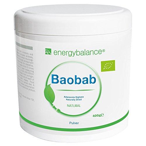 EnergyBalance Baobab Pulver Bio - Fruchtpulver mit Antioxidantien - Vitamin C, Kalzium, Magnesium, Kalium - Hohe Bioverfügbarkeit - Glutenfrei, Laktosefrei, ohne Zusätze - 400 g
